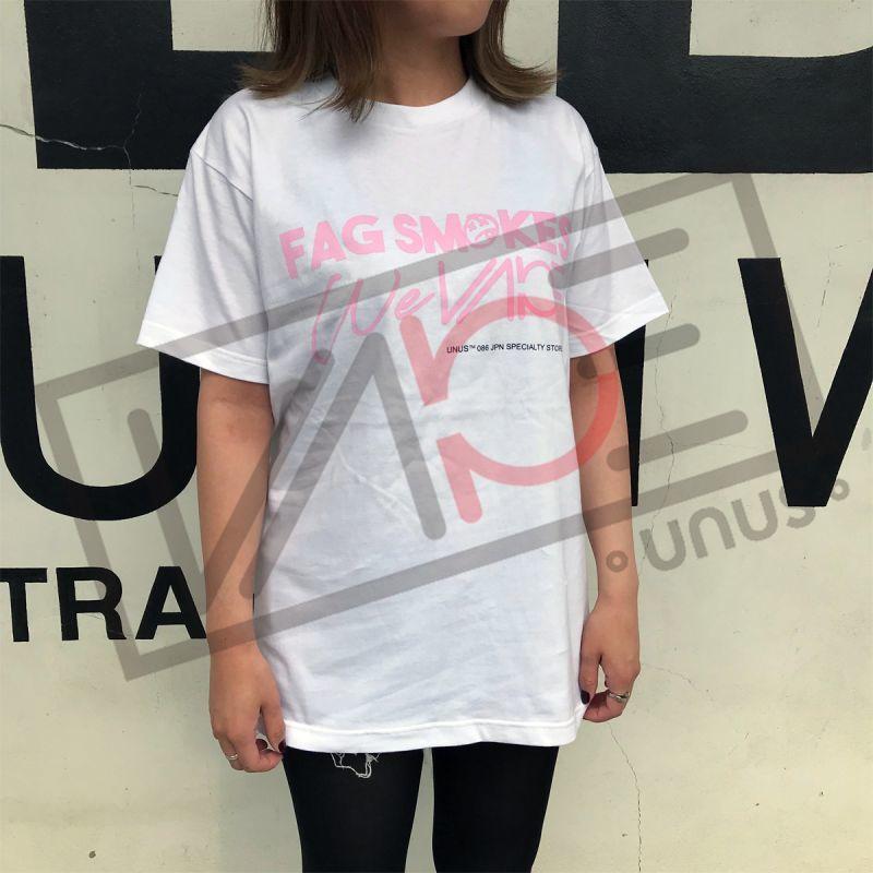 画像1: UNUS FAGロゴ Tシャツ / ピンク オリジナル グッズ  Tシャツ ユニセックス (1)